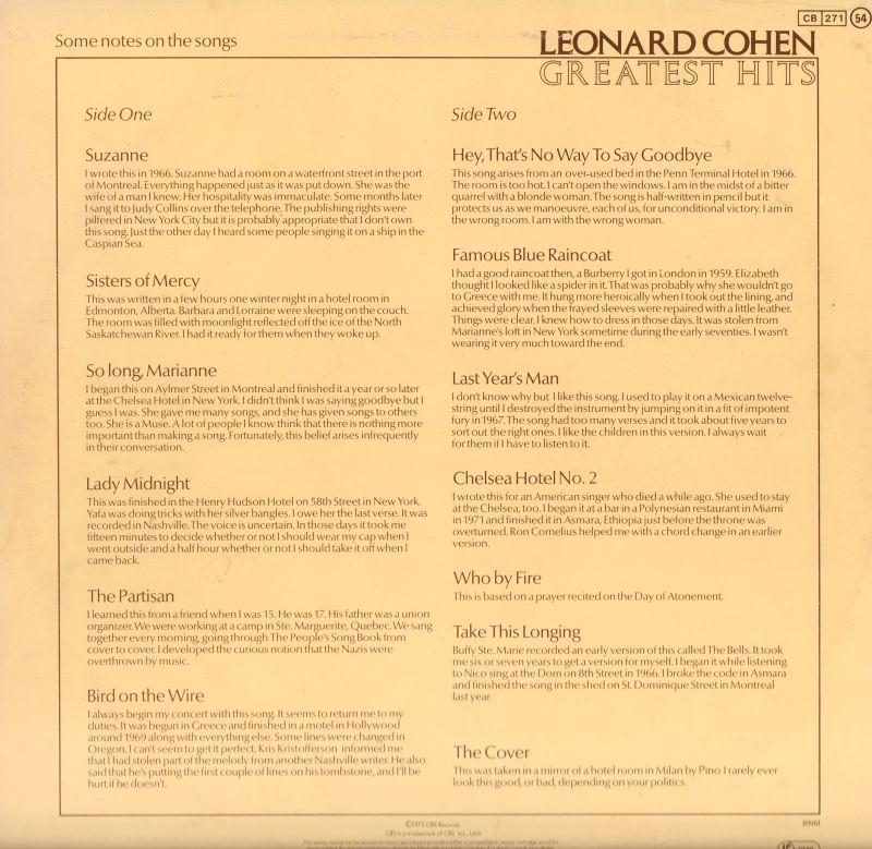 Leonard Cohenvinyl Lpgreatest Hits Cbs S 69161 Uk 1975 Vgvg Ebay